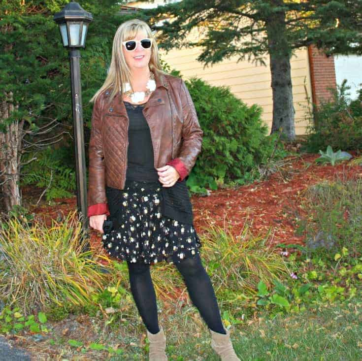 moto jacket and floral chiffon skirt, with konifer glasses