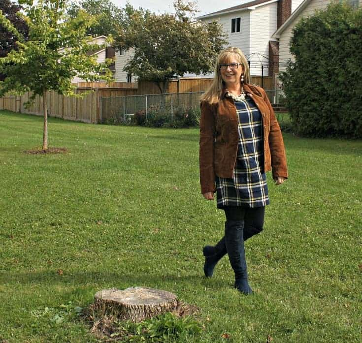 Old Navy Plaid Dress and Danier Leather suede cognac jacket with pearls and leggings