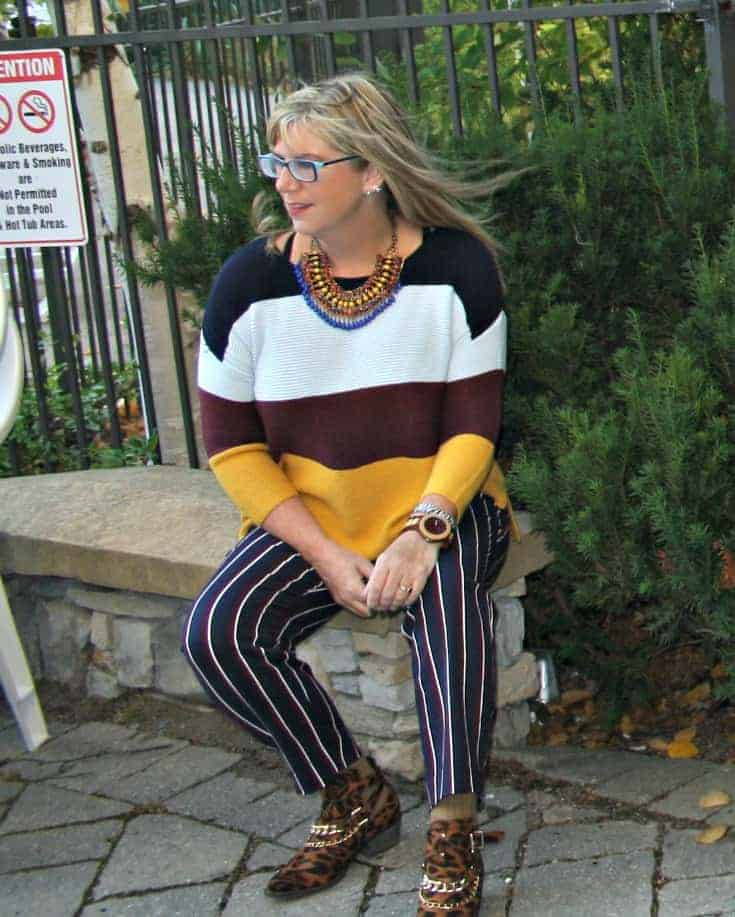 Jord Watch with Old Navy Harper pants, striped sweater and leopard boots