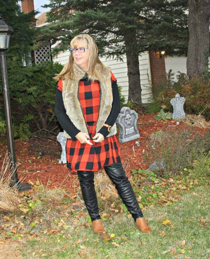 Old Navy Buffalo Check Dress,and H & M leather leggings with Forever 21 booties.