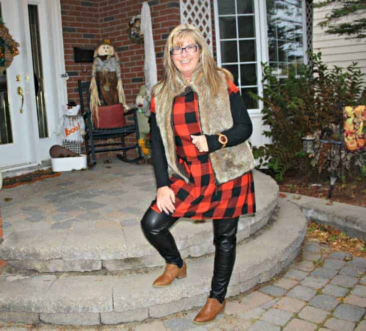 Jord Watch, Old Navy Buffalo Check Dress, Gap Fur Vest and H & M leather leggings with Forever 21 booties.