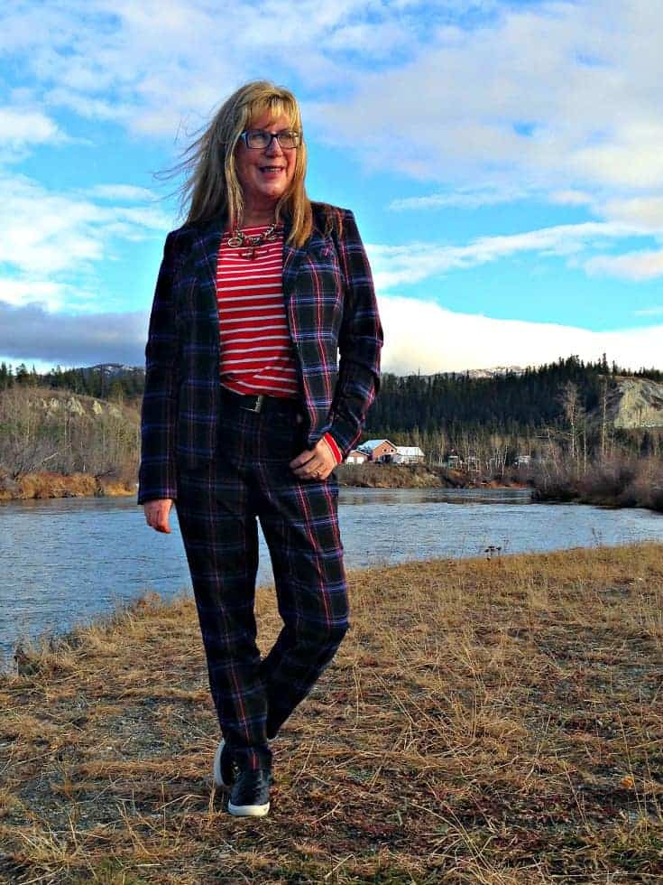 Target Plaid suit and Old Navy red  striped top with quilted loafers