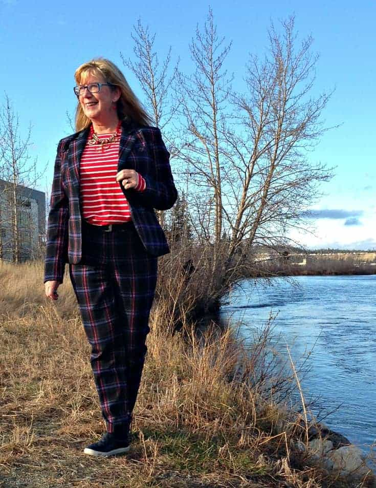 Target Plaid suit and Old Navy striped top with anchor necklace