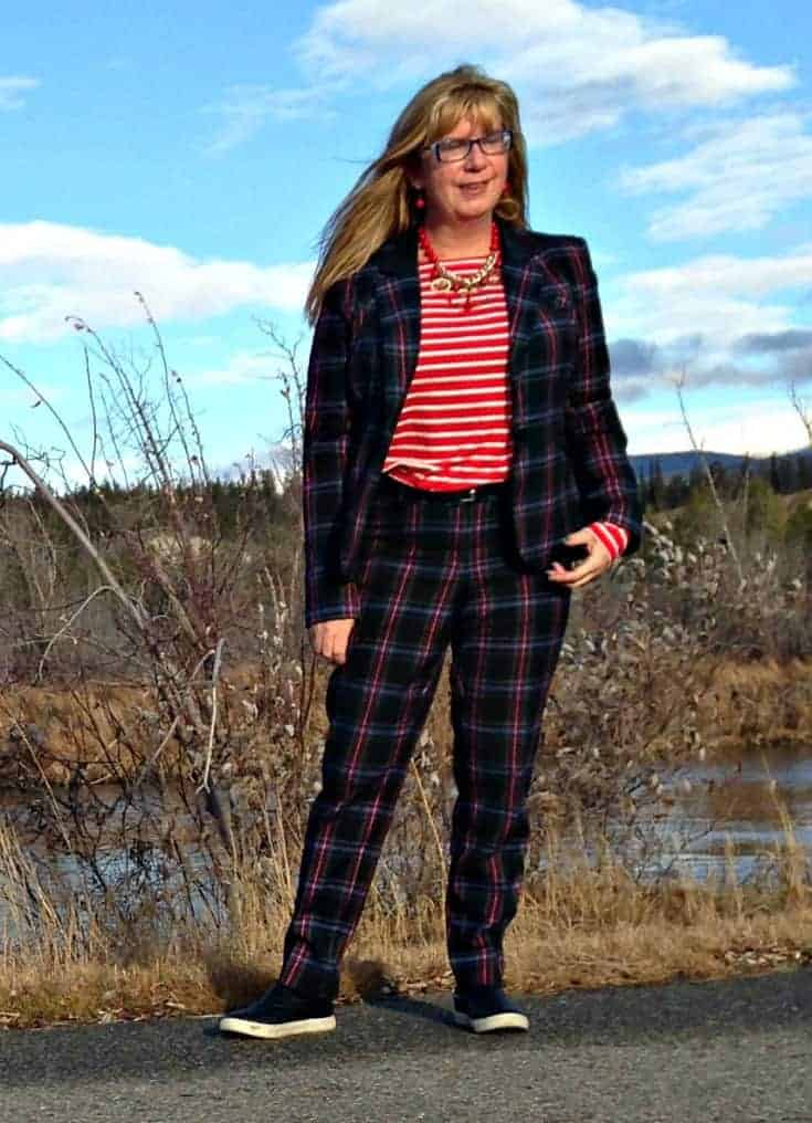 Target Plaid suit and Old Navy striped top with quilted loafers