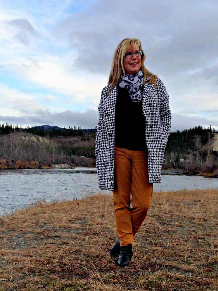 Mustard Pixie pants from Old Navy, Shein Houndstooth Coat and Yosa Skull scarf