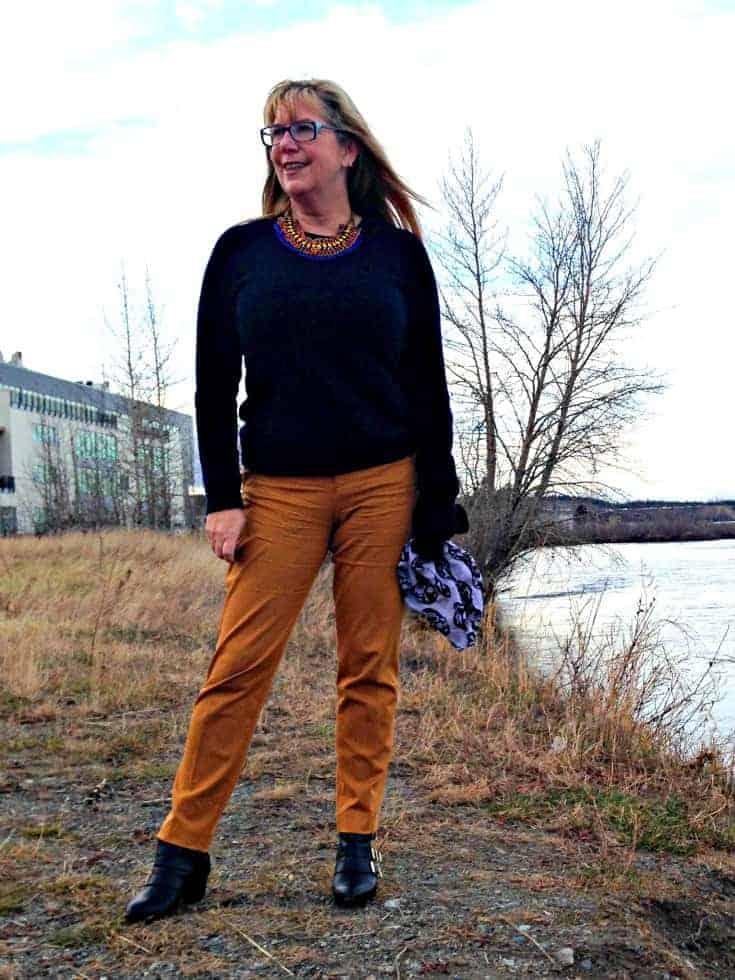 Jones NY Cashmere sweater and Old Navy pixie pants with a forever 21 bootie
