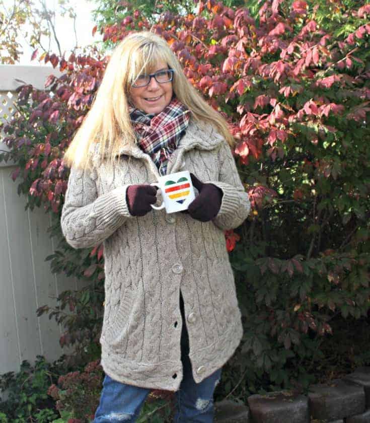 Hudson Bay Company sweater and plaid scarf withI love canada mug