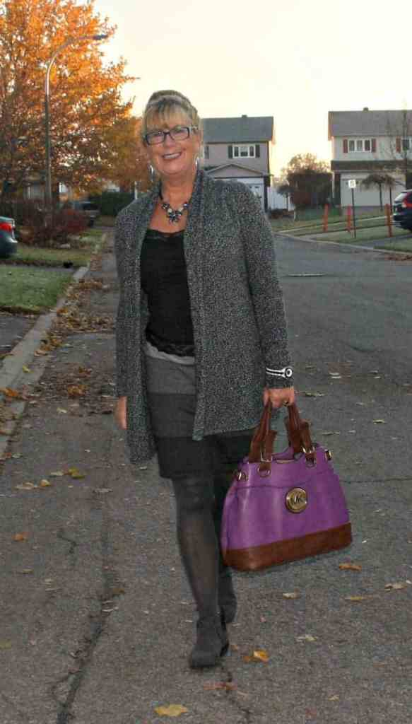 strolling down the street in VanHeusen Tweed sweater, Tri coloured grey skirt and Forever 21 Boots