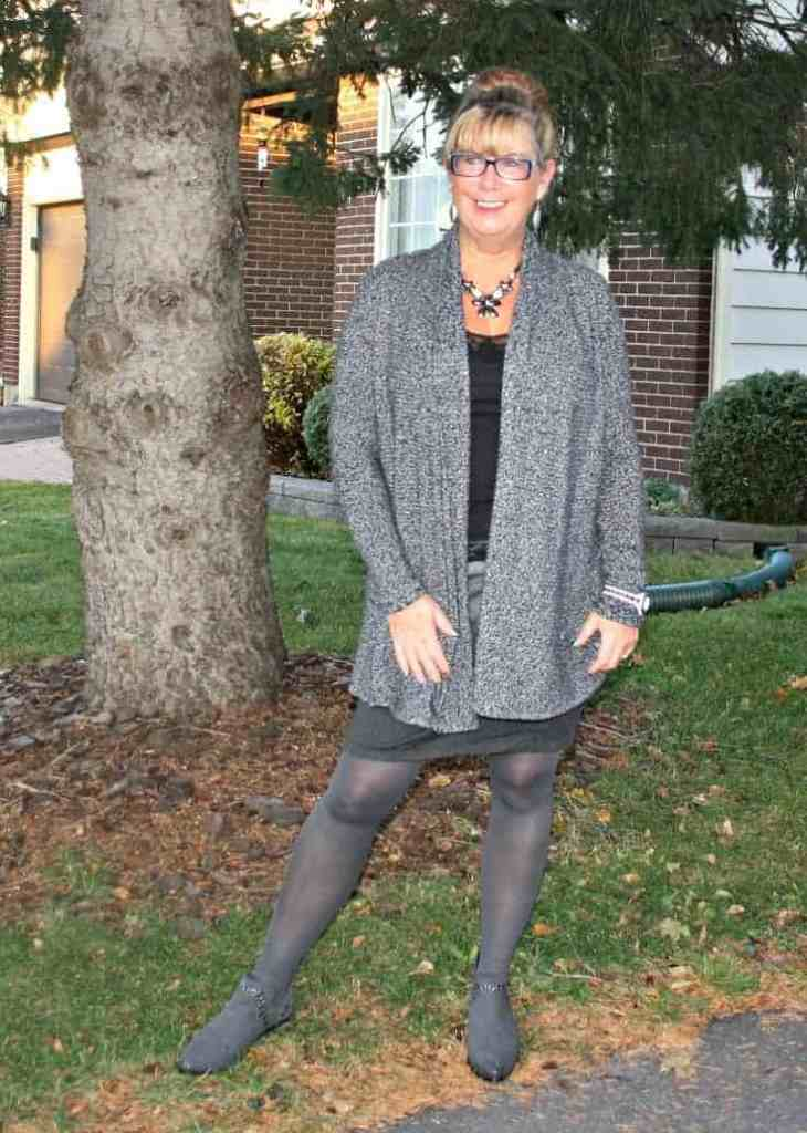 VanHeusen Tweed sweater, Rickiès Tri coloured grey skirt and Forever 21 Boots