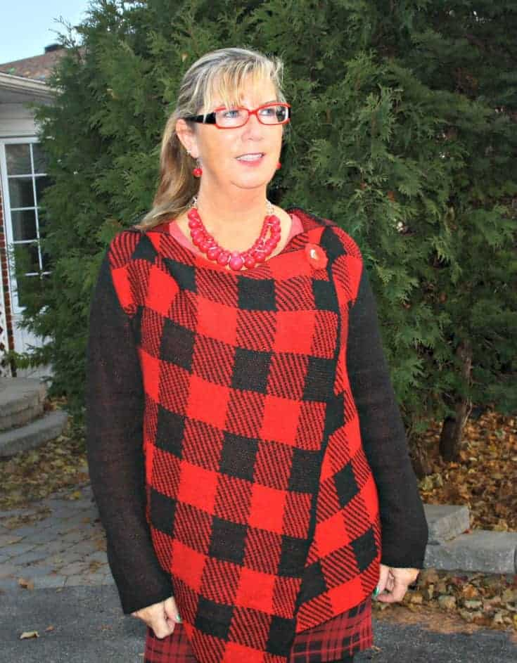 Hudsons Bay Company Red plaid hooded sweater
