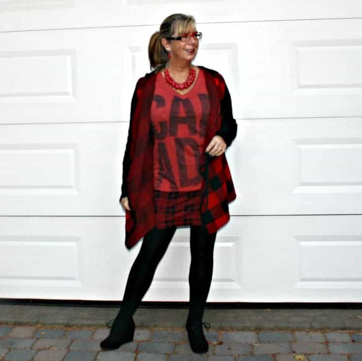 Canada Tee with Red plaid skirt and sweater with Wedge boots and LNBF leggings