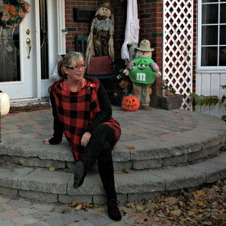Red plaid skirt and sweater with Wedge boots