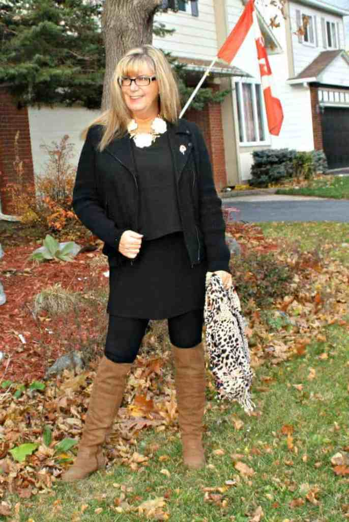 Moto Jacket and LNBF Selena Tunic and Suri leggings with happiness boutique necklace