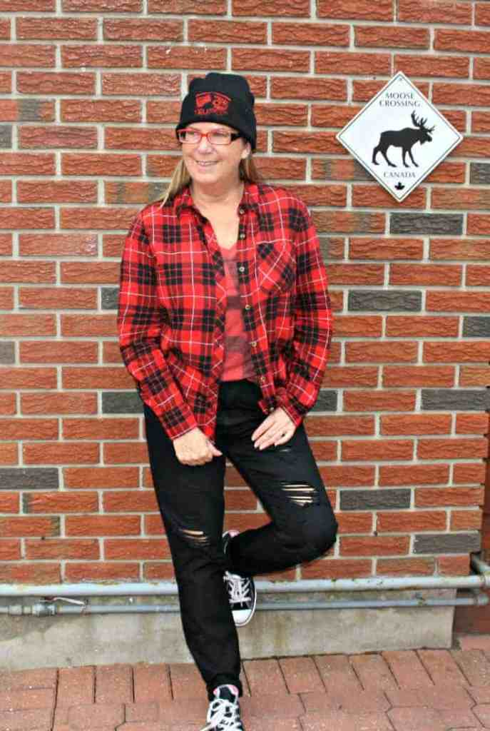 buffalo Plaid and a Canada Shirt from Old Navy with a toque, Hello Canada