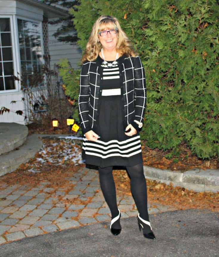 J Crew Black and white dress with pockets and a  windowpane sweater from Target