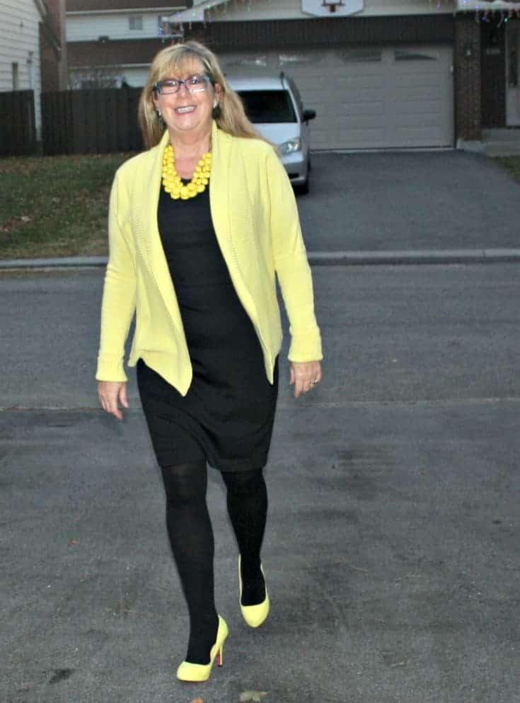 Vanheusen Yellow Cardigan with a LBD and matching Signature pumps from Shoe Dazzle