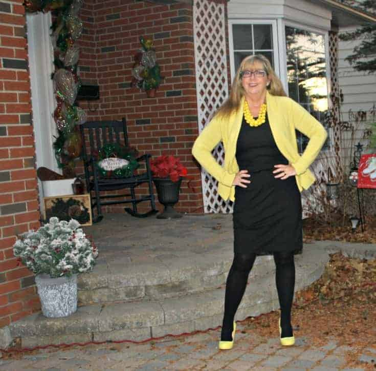 Sunny day in Vanheusen Yellow Cardigan with a LBD and matching Signature pumps from Shoe Dazzle