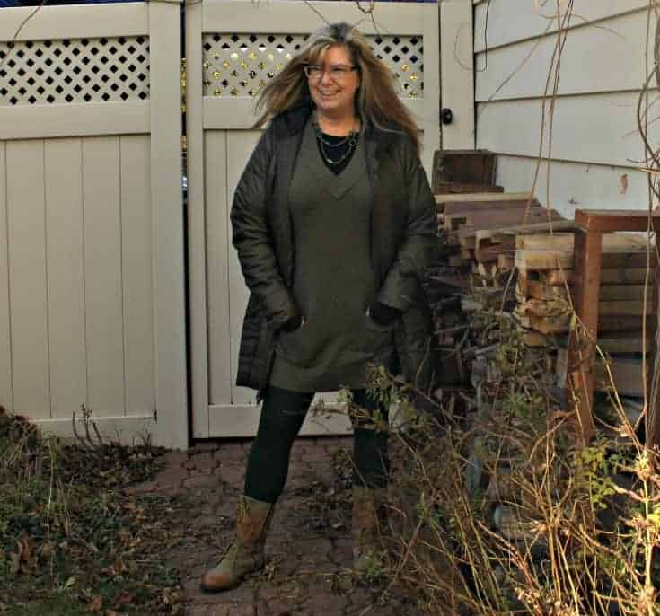 Columbia Coat with Banana Republic tunic and LNBF Leggings with Giant Tiger Boots