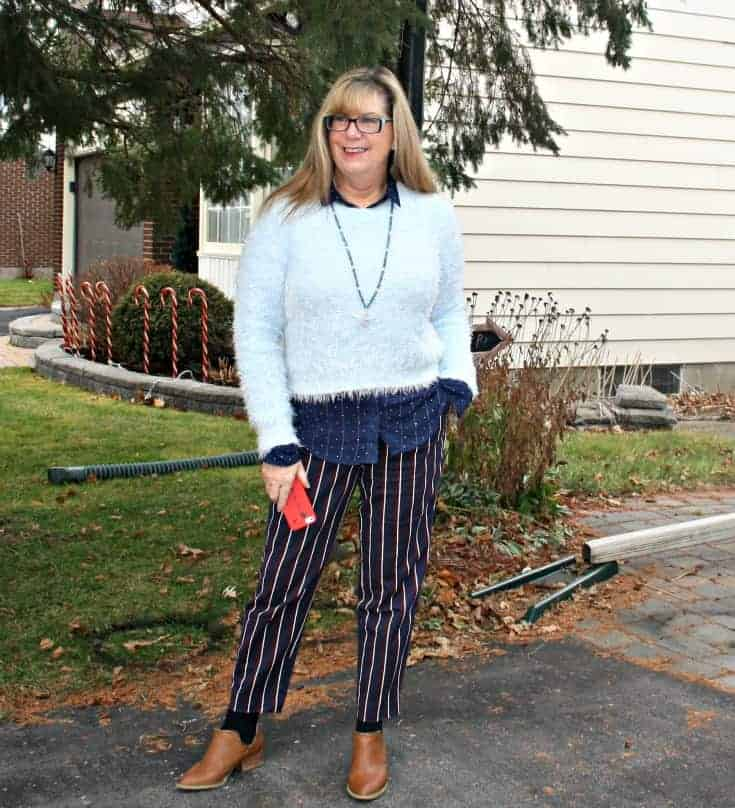 Harper Pants and polka dot shirt  from Old Navy, Sweater and Booties from Forever 21, tassel necklace gift