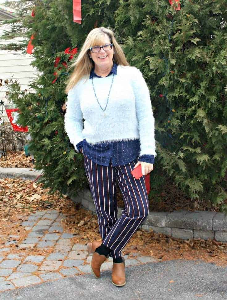 Sweater and Booties from Forever 21, tassel necklace gift