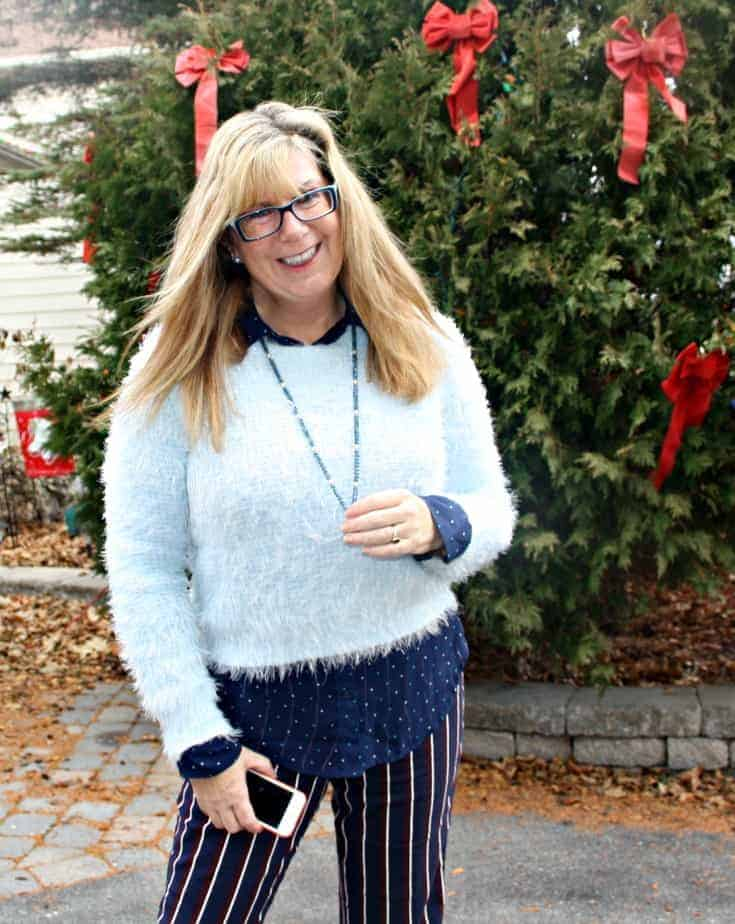Harper Pants and polka dot shirt  from Old Navy, Sweater  from Forever 21, tassel necklace gift
