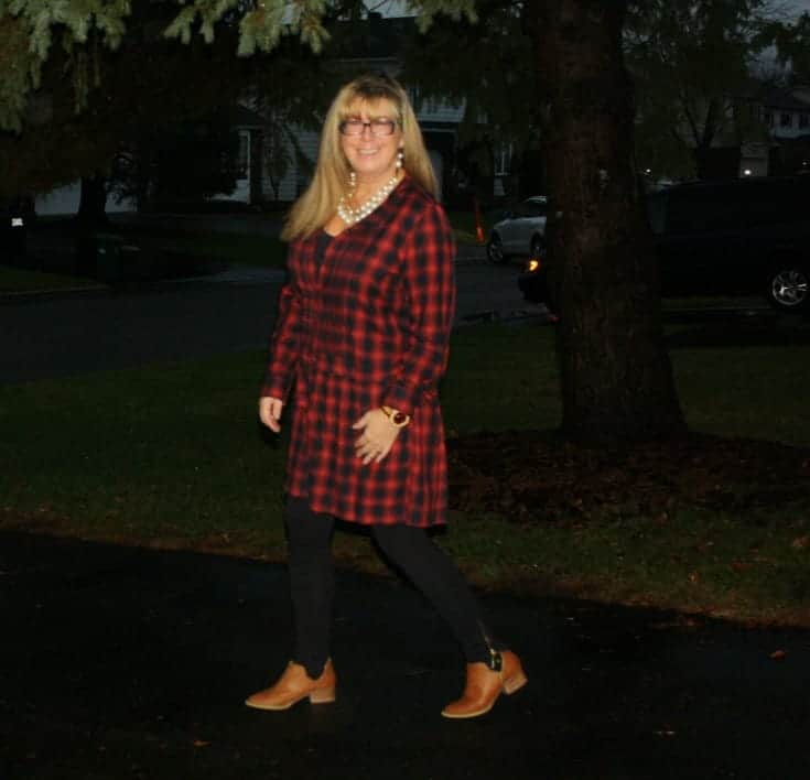 J Crew Plaid Dress with pearls and MK Leggings