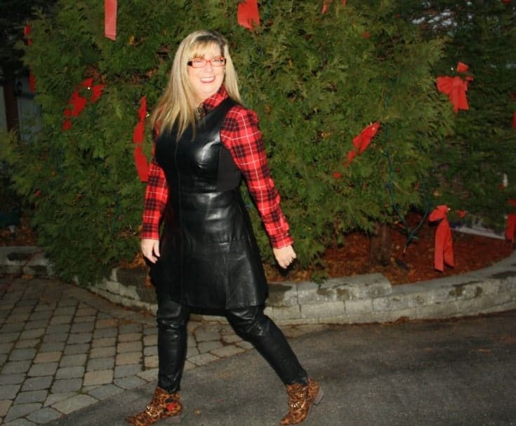 F 21 Leather Dress with Buffalo plaid shirt and some leopard boots 4