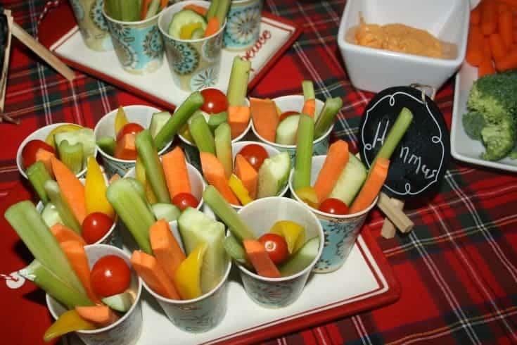 veggie cups with hummus