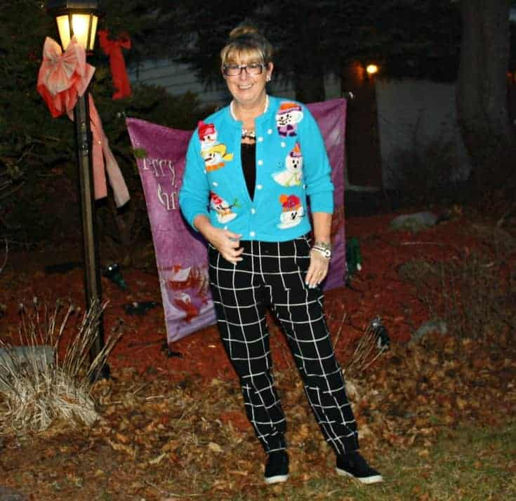 snowman sweater and windowpane joggers from Target, Konifer watch and quilted loafers 7