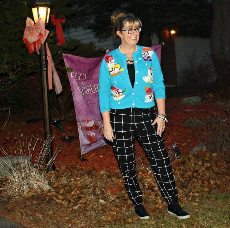 snowman sweater and windowpane joggers from Target, Konifer watch and quilted loafers 6