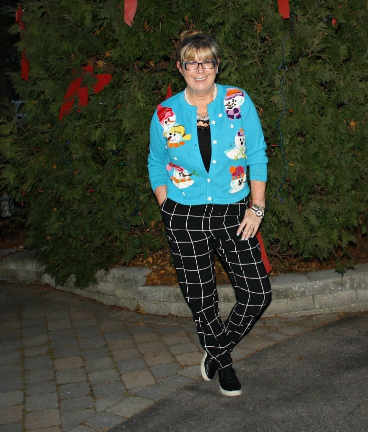 snowman sweater and windowpane joggers from Target, Konifer watch and quilted loafers 3