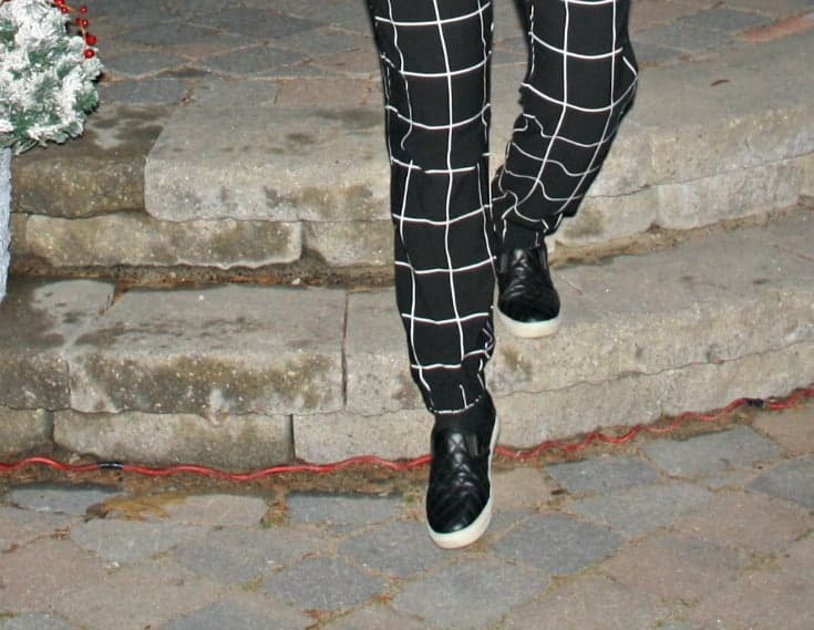 windowpane joggers and quilted loafers