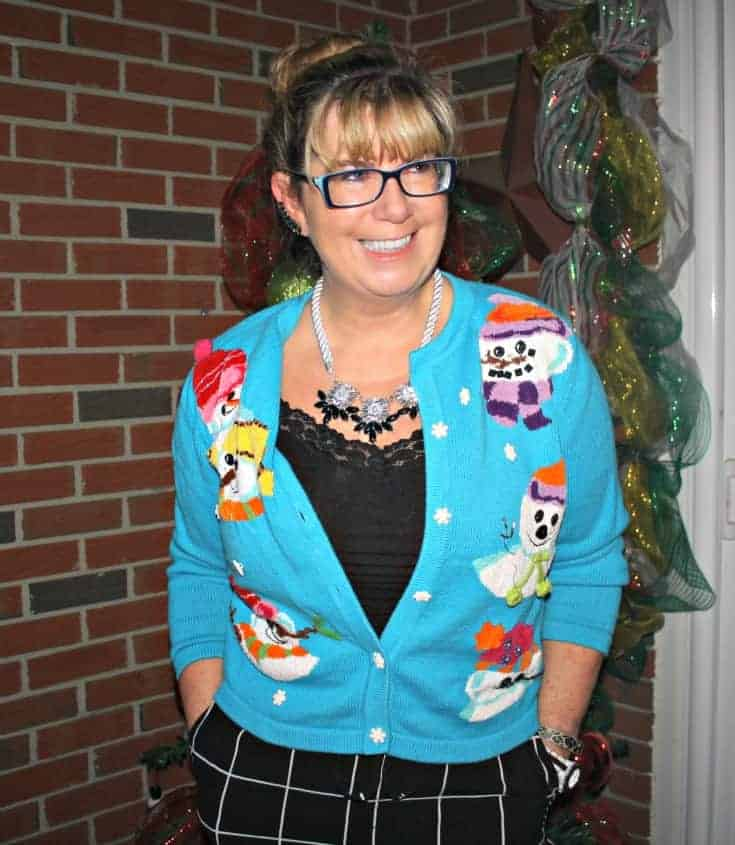 snowman sweater and windowpane joggers from Target, Konifer watch