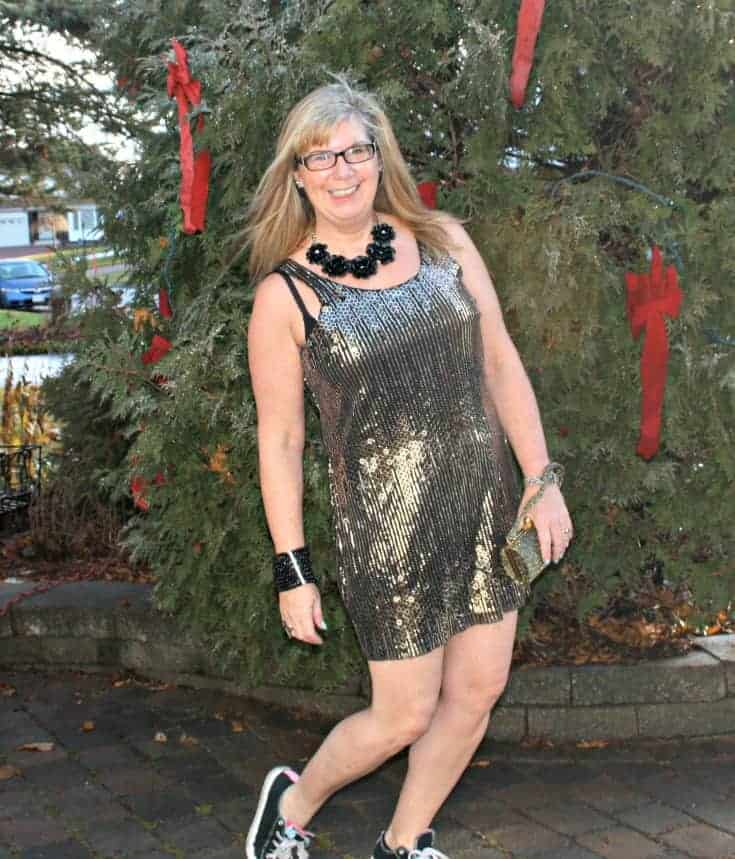 Gold sequin dress and converse for NYE