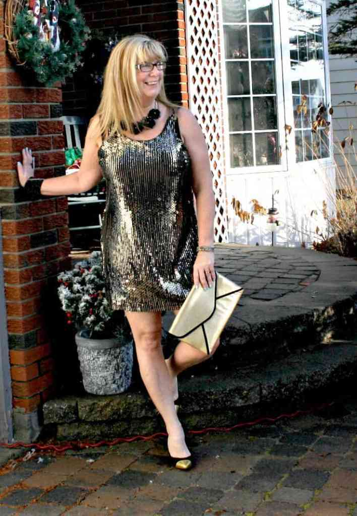 Gold sequin dress , envelope clutch and gold toe capped pumps from J Crew 7