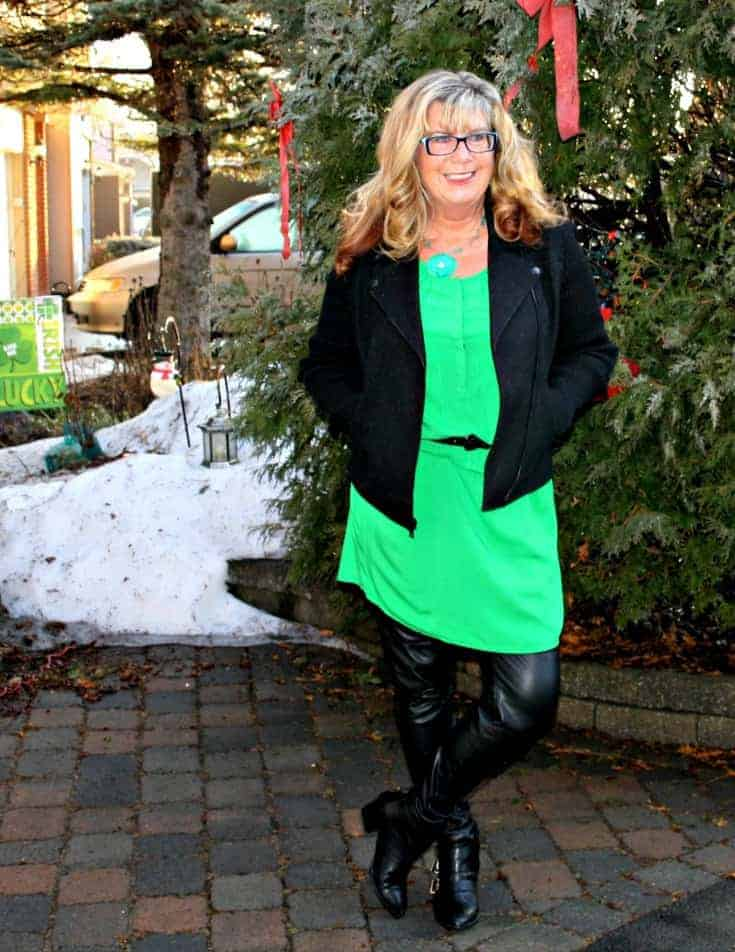Old Navy Kelly green shirt dress and banana republic wool moto jacket and a shamrock necklace