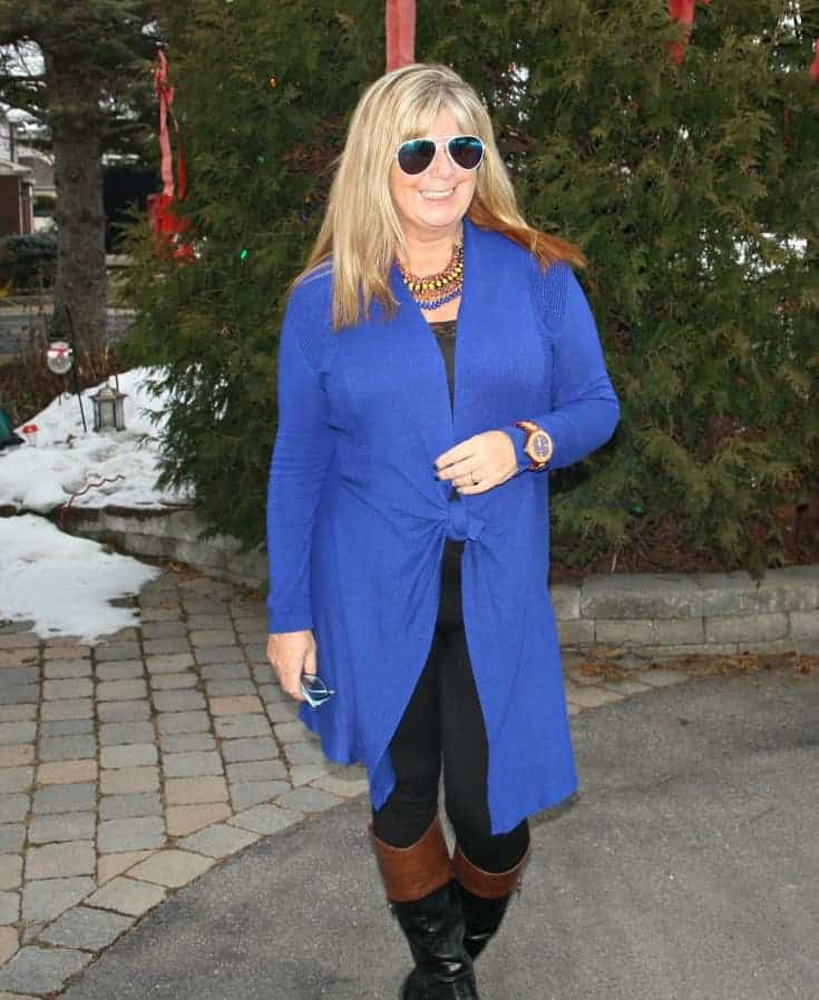 rocking aviators and a Royal Blue Cardi and tights from Giant Tiger and Target boots