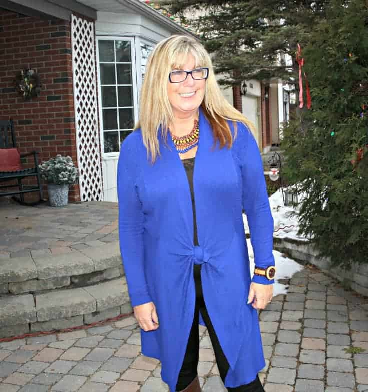 Royal Blue Cardi and tights from Giant Tiger and jord watch