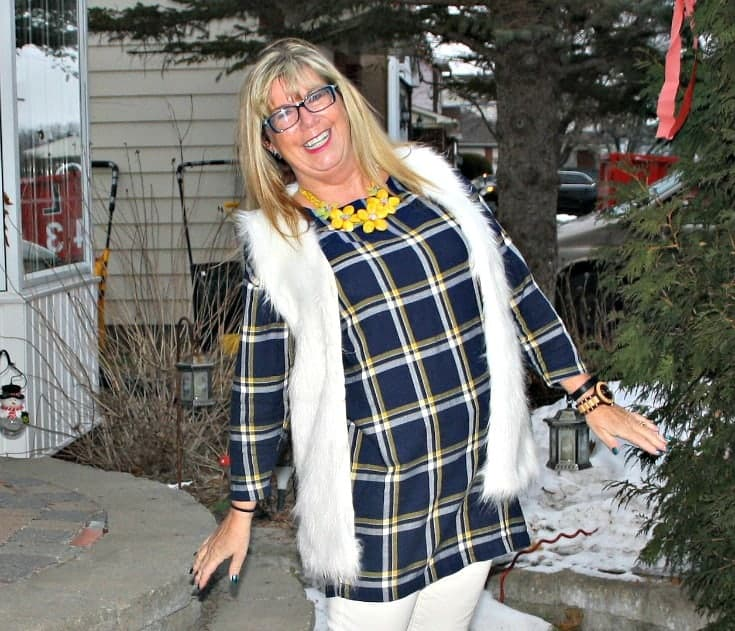 old navy plaid dress and white fur vest
