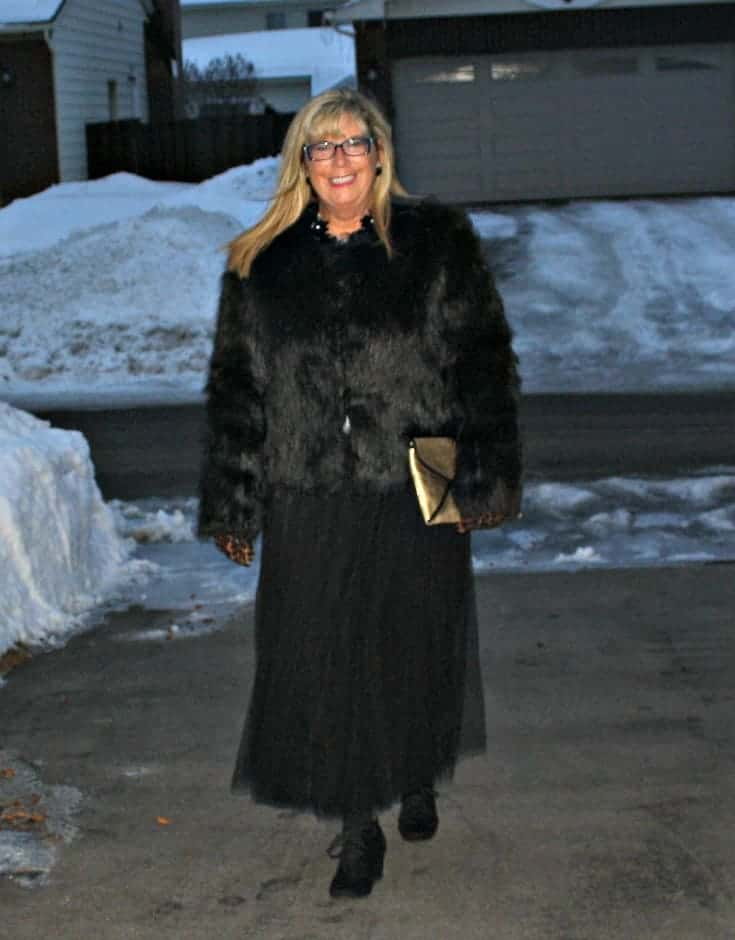 Target Fur coat and Shein Tulle skirt