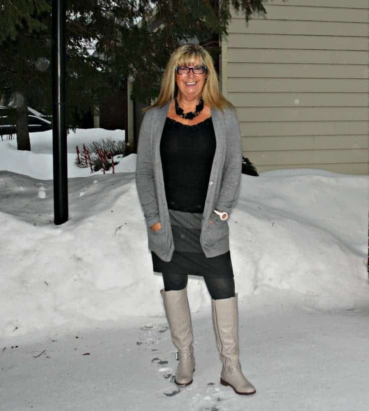 grey striped skirt, boyfriend cardigan from Old Navy and the Jessie Boot in taupe from Shoe Dazzle