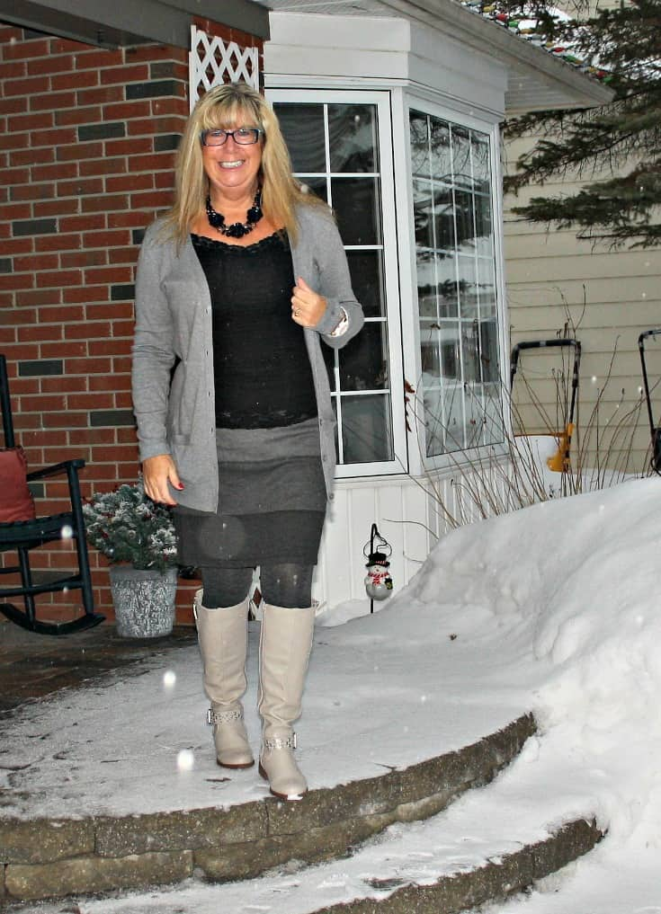grey striped skirt from Ricki's, boyfriend cardigan from Old Navy and the Jessie Boot from Shoe Dazzle