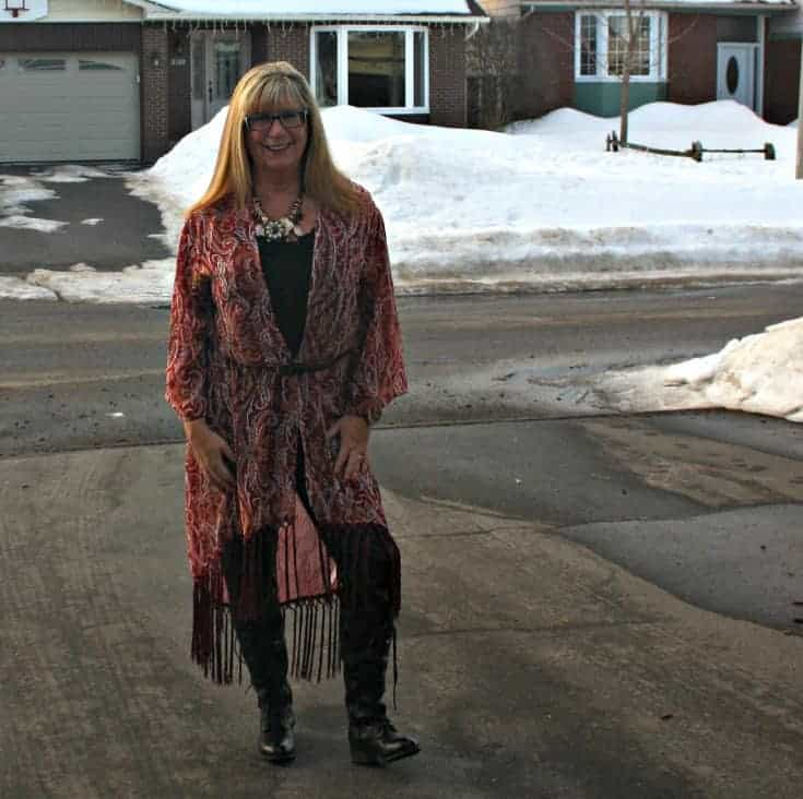 almost Spring in a Target Fringe duster and black lace up boots from Shoe Dazzle with leather leggings