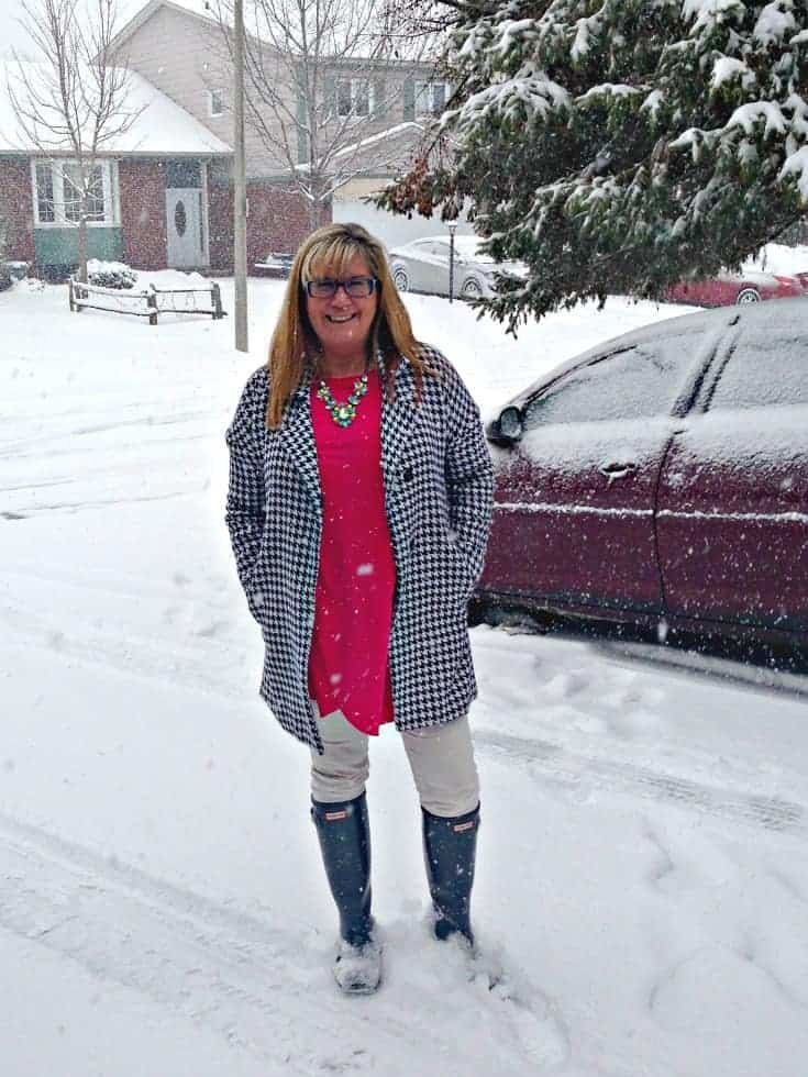 shein coat and a new chic tunic, white denims and hunters