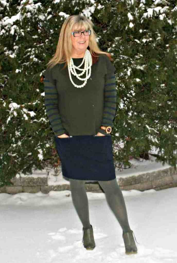 olive nine west booties, a Joe Fresh Olive and navy colour block dress with striped tee, go jane pearls and a jord watch
