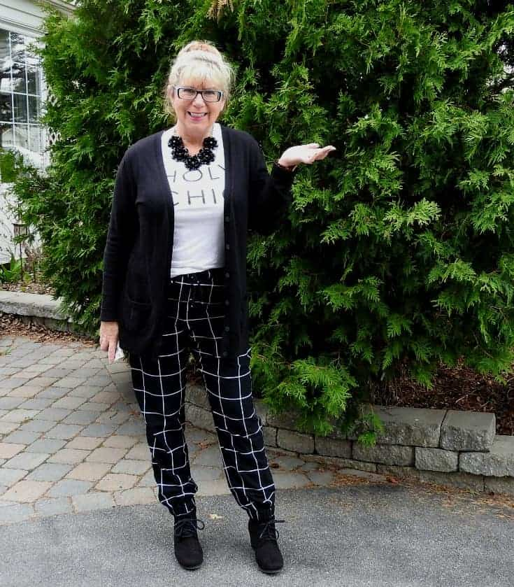 Holy Chic tee with windowpane joggers, wedge boots and a boyfriend cardi