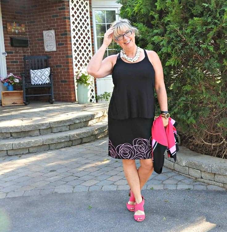 Ming Wang suit and fun pumps from Kmart, and Forever 21 pearls