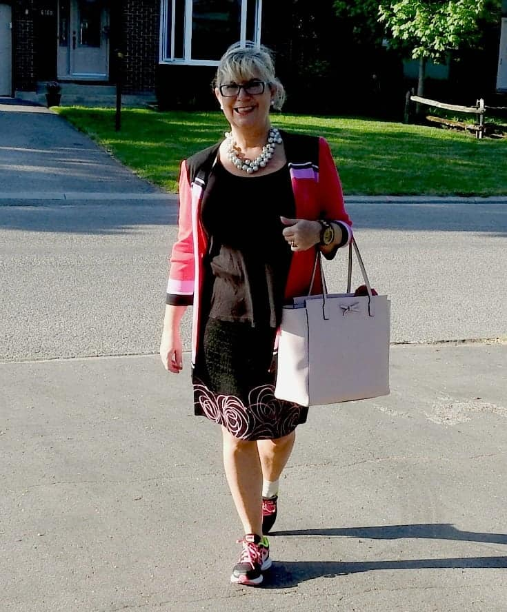Ming Wang suit and nikes plus a kate spade bag