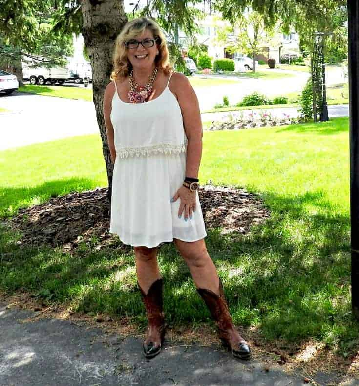 Forever 21 cream dress, Boulet Cowboy boots, Jord Watch and a Yosa floral necklace
