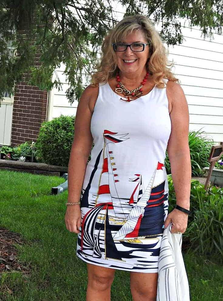 Banana republic sailboat dress, Old navy Linen Blazer, anchor necklace and shoe dazzle striped slingbacks
